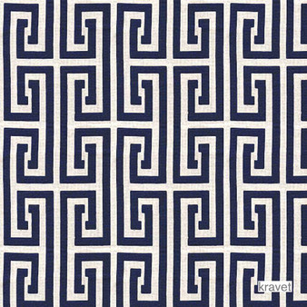 Kravet - Sailclub - Ultramarine  | Upholstery Fabric - Blue, Geometric, Midcentury, Outdoor Use, Synthetic, Fret, Greek Key, Standard Width