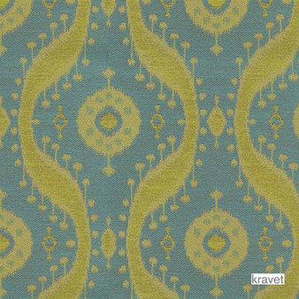 Kravet - Medina - Grotto  | Upholstery Fabric - Stain Repellent, Ikat, Kilim, Mediterranean, Ogee, Synthetic, Bacteria Resistant, Odour Resistant, Bacteria Resistant