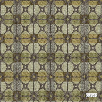 Kravet - Gateway - Limestone  | Upholstery Fabric - Stain Repellent, Check, Contemporary, Geometric, Midcentury, Synthetic, Bacteria Resistant, Lattice, Trellis