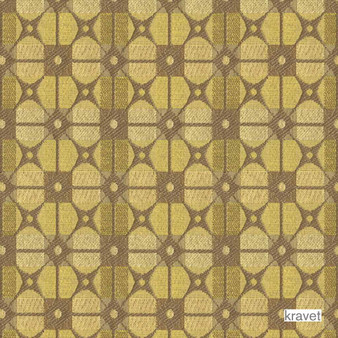 Kravet - Gateway - Mimosa  | Upholstery Fabric - Stain Repellent, Gold,  Yellow, Check, Contemporary, Geometric, Midcentury, Synthetic, Bacteria Resistant, Lattice, Trellis