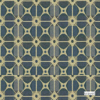 Kravet - Gateway - Sapphire  | Upholstery Fabric - Stain Repellent, Blue, Check, Contemporary, Geometric, Midcentury, Synthetic, Bacteria Resistant, Lattice, Trellis