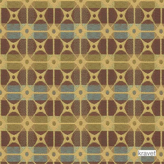 Kravet - Gateway - Coastal  | Upholstery Fabric - Stain Repellent, Brown, Gold,  Yellow, Check, Contemporary, Geometric, Midcentury, Synthetic, Bacteria Resistant