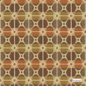 Kravet - Gateway - Copper  | Upholstery Fabric - Stain Repellent, Brown, Check, Contemporary, Geometric, Multi-Coloured, Midcentury, Synthetic, Bacteria Resistant