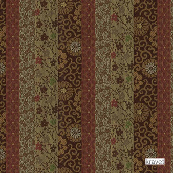 Kravet - Kamara - Copper  | Upholstery Fabric - Stain Repellent, Brown, Eclectic, Floral, Garden, Multi-Coloured, Stripe, Synthetic, Bacteria Resistant, Odour Resistant