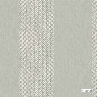 Kravet - Lucky Knots - Quartzite  | Curtain Fabric - White, Fibre Blends, Stripe, Traditional, Transitional, Embroidery, White, Standard Width