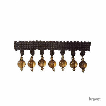 Kravet - Clear Bead - 64    Fringe, Curtain & Upholstery Trim - Brown, Synthetic