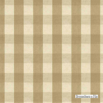 Brunschwig And Fils - Carsten Check - Tan  | Upholstery Fabric - Brown, Check, Farmhouse, Gingham, Natural Fibre, Traditional, Natural, Standard Width