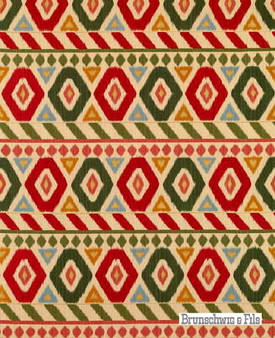 Brunschwig And Fils - Uzbek Linen And Cotton Print - Poppy-Green-Coral  | Curtain & Upholstery fabric - Red, Geometric, Midcentury, Natural Fibre, Stripe, Natural, Print