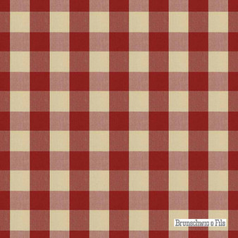 Brunschwig And Fils - Exchequer Cotton Check - Scarlet  | Upholstery Fabric - Brown, Check, Farmhouse, Gingham, Natural Fibre, Traditional, Natural, Standard Width