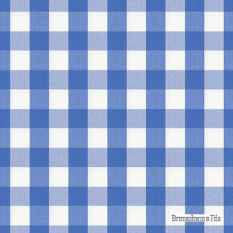 Brunschwig And Fils - Exchequer Cotton Check - Cornflower  | Upholstery Fabric - Blue, Check, Farmhouse, Gingham, Natural Fibre, Traditional, Natural, Standard Width
