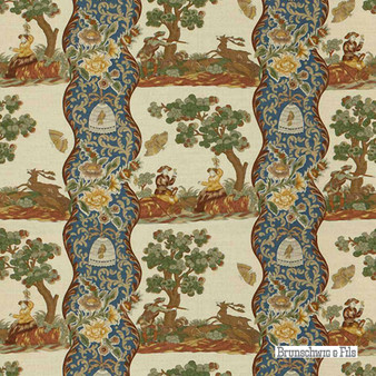 Brunschwig And Fils - Plougastel Linen & Cotton Print - Blue  | Curtain & Upholstery fabric - Blue, Floral, Garden, Natural Fibre, Stripe, Traditional, Figurative, Natural