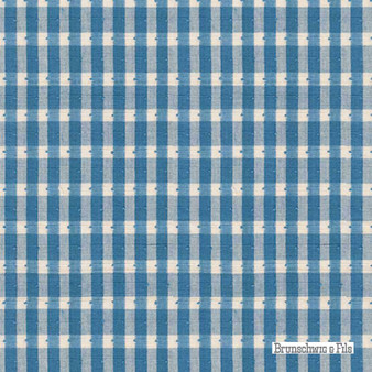 Brunschwig And Fils - Halsey Cotton Check - Oxford Blue  | Upholstery Fabric - Blue, Check, Farmhouse, Gingham, Natural Fibre, Stripe, Traditional, Chenille, Natural, Strie
