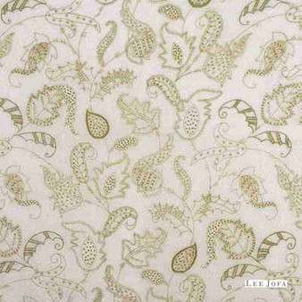 Lee Jofa - Andrew Sheer - Sage  | Curtain & Curtain lining fabric - Green, Floral, Garden, Botantical, Traditional, Jacobean, Embroidery, Fibre Blend