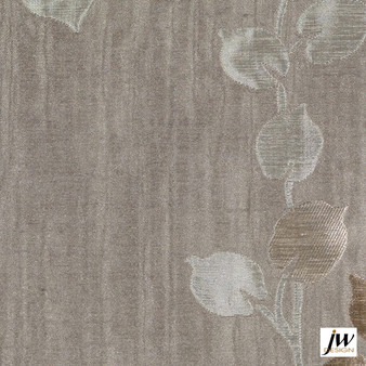 JW Design - Camille Linen Uncoated 140cm  | Curtain Fabric - Brown, Fire Retardant, Grey, Contemporary, Floral, Garden, Pattern, Synthetic, Uncoated, Washable, Domestic Use