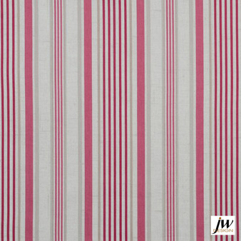 JW Design - Dreamline Raspberry Uncoated 137cm  | Curtain & Upholstery fabric - Natural Fibre, Pattern, Pink, Purple, Stripe, Traditional, Uncoated, Washable, Domestic Use