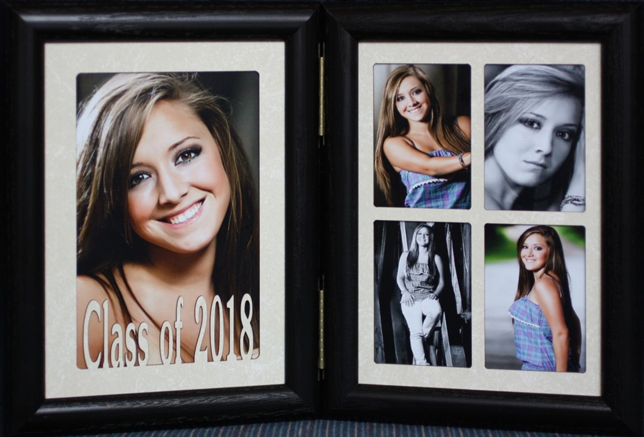5x7 Class Of 2018 Double Hinged Portrait Black Frame With Cream Mats