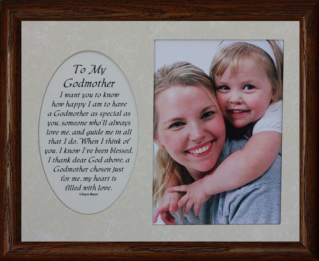 8x10 To My Godmother Photo Poetry Frame Holds A Portrait 5x7