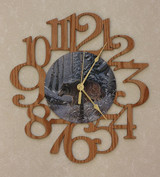 LONER WOLF ~ LARGE Decorative OAK PHOTO WALL CLOCK ~ Great Gift Idea for a WOLF Enthusiast!