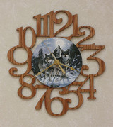 THREE WOLVES ~ MEDIUM Decorative OAK PHOTO WALL CLOCK ~ Great Gift Idea for a WOLF Enthusiast!!