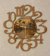 DUCKS ~ LARGE Decorative OAK PHOTO WALL CLOCK ~ Great Gift Idea for a DUCK Hunter!