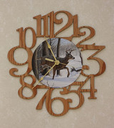 BUCK ~ DEER LARGE Decorative OAK PHOTO WALL CLOCK ~ Great Gift Idea for a DEER Hunter!