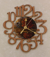 DUCKS & CABIN ~ SMALL Decorative OAK PHOTO WALL CLOCK ~ Great Gift for a CABIN/HUNTING Enthusiast!
