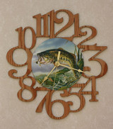BASS ~ LARGE Decorative OAK PHOTO WALL CLOCK ~ Great Gift Idea for a FISHERMAN!