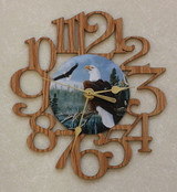 EAGLES ~ SMALL Decorative OAK PHOTO WALL CLOCK ~ Great Gift for an EAGLE Enthusiast!