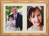7x10 PAPA'S GIRL Double Picture Frame ~ Holds two Portrait 4x6 or cropped 5x7 Photos ~ Gift for Papa