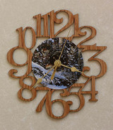 WOLF PACK ~ SMALL Decorative OAK PHOTO WALL CLOCK ~ Great Gift for Wolf Enthusiasts!