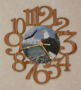 EAGLES ~ LARGE Decorative OAK PHOTO WALL CLOCK ~ Great Gift Idea for an EAGLE Enthusiast!