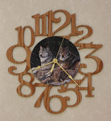 WOLF PAIR ~ LARGE Decorative OAK PHOTO WALL CLOCK ~ Great Gift Idea for WOLF Enthusiasts!