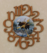 MOOSE ~ SMALL Decorative OAK PHOTO WALL CLOCK ~ Great Gift for a MOOSE Hunter/Enthusiast!