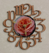 PEACH ROSE ~ SMALL Decorative OAK PHOTO WALL CLOCK ~ Great Gift for Mom on Mother's Day, Birthday