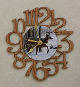 BUCK ~ SMALL Decorative OAK PHOTO WALL CLOCK ~ Great Gift for HUNTER/HUNTING Enthusiasts!