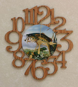 BASS ~ SMALL Decorative OAK PHOTO WALL CLOCK ~ Great Gift for FISHING Enthusiasts!
