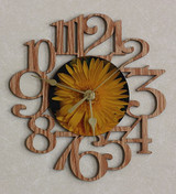 YELLOW DAISY FLOWER ~ SMALL Decorative OAK PHOTO WALL CLOCK ~ Great Gift for Mom on Mother's Day, Birthday, Anniversary or Christmas!