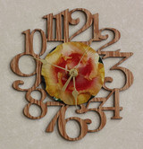 YELLOW & RED HIBISCUS FLOWER ~ SMALL Decorative OAK PHOTO WALL CLOCK ~ Great Gift for Mom on Mother's Day, Birthday