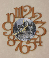 THREE WOLVES ~ LARGE Decorative OAK PHOTO WALL CLOCK ~ Great Gift Idea for WOLF Enthusiasts!