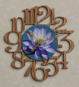 PURPLE WATER LILY FLOWER ~ SMALL Decorative OAK PHOTO WALL CLOCK ~ Great Gift for Mom on Mother's Day, Birthday, Anniversary or Christmas!