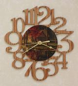 CABIN ~ MEDIUM Decorative OAK PHOTO WALL CLOCK ~ Great Gift Idea!