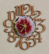 HOLLYHOCK FLOWER ~ SMALL Decorative OAK PHOTO WALL CLOCK ~ Great Gift for Mom on Mother's Day, Birthday, Anniversary or Christmas!