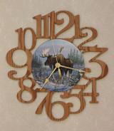 MOOSE ~ LARGE Decorative OAK PHOTO WALL CLOCK ~ Great Gift Idea for a MOOSE Enthusiast!