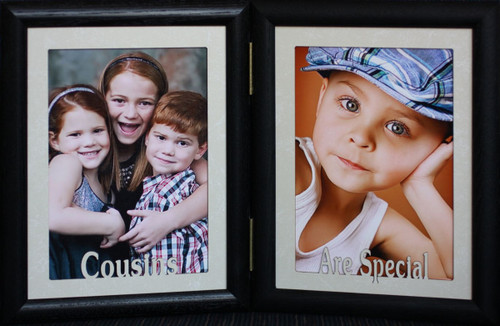 5x7 Bff Double Hinged Portrait Black Frame With Cream Mats