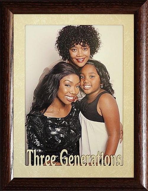 5x7 Jumbo Three Generations Landscape Black Solid Oak Picture