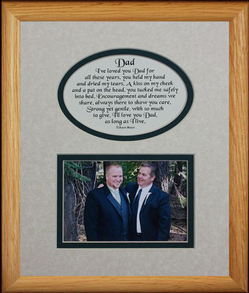 8x10 Dad Picture Poetry Photo Gift Frame Creamhunter Green Mat