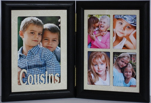 5x7 Cousins Double Hinged Portrait Black Frame With Cream Mats