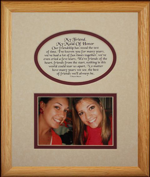 8x10 My Friend My Maid Of Honor Picture Poetry Photo Gift Frame