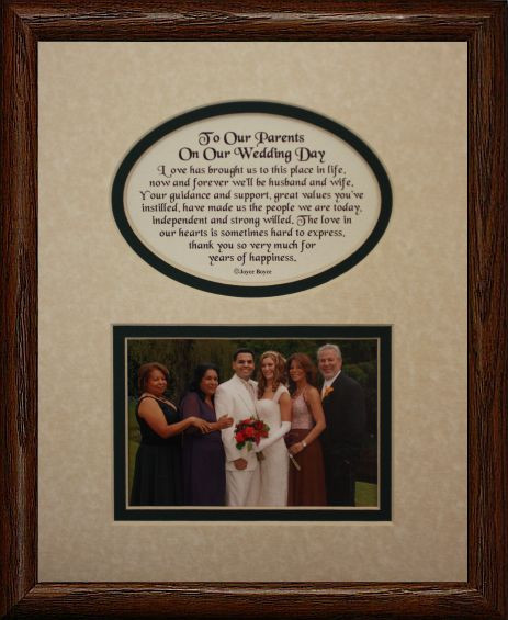 8x10 To Our Parents On Our Wedding Day Picture Poetry Photo Gift