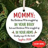 Personalized Snuggled Up In Your Arms Ornament Gift For Mom